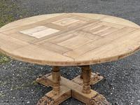 Large Round French Bleached Oak Farmhouse Table with Extensions (19 of 38)