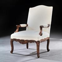 Generous French 19th Century Carved Open Armchair Fauteuil