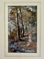Sine Mackinnon - Woodland Path with Figure - Gouache (2 of 2)