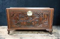 Oriental Carved Teak & Camphor Wood Chest - 1930s (7 of 15)