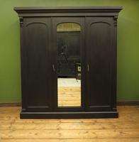 Antique Black Painted Triple Linen Press Wardrobe in 4 Parts, Gothic Shabby Chic (2 of 19)