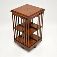 Antique Inlaid Walnut Revolving Bookcase (2 of 6)