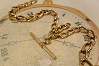 Victorian Pocket Watch Chain 1890s Antique 18ct Rose Rolled Gold Albert With T Bar (6 of 10)