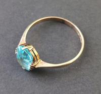 Vintage Art Deco Blue Zircon Solitaire Ring, 9ct Gold (3 of 9)