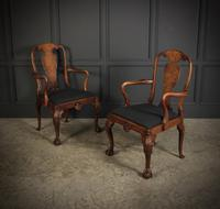 Pair of Queen Anne Style Walnut Carver Chairs c.1920 (7 of 19)