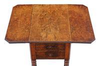 Victorian 19th Century Burr Walnut Drop Leaf Work Table c.1880 (3 of 8)