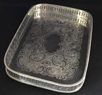 Vintage Silver Plated Oblong  Gallery  Tray