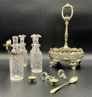 Fabulous Quality 19thc Victorian Silver Plated Cruet Set Inc 5 Cut Glass Bottles (3 of 12)