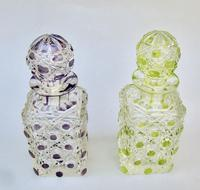 Beautiful Pair of French Lime & Amethyst Glass Hobnail Cut Scent Bottles c.1900 (3 of 7)