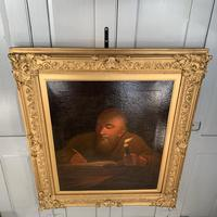 Antique large Georgian early Victorian oil painting portrait (3 of 11)