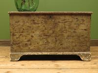 Large Antique Old Painted Green Distressed Pine Trunk Chest, Rustic Blanket Box (13 of 18)