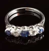 Vintage Sapphire & Diamond Half Hoop Ring, 18ct White Gold & Platinum (7 of 13)