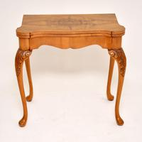 Antique Queen Anne Style Burr Walnut Card Table (5 of 11)