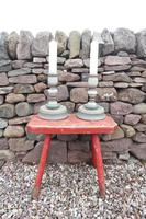 Pair of Swedish 'Folk Art' Large Over-sized Wooden Painted Candlesticks 20th Century (4 of 17)