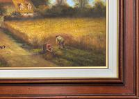 Original Victorian Harvest Countryside Landscape Oil Painting (9 of 10)
