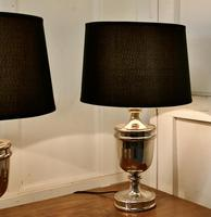 Pair of Large Art Deco Style Chrome Table Lamps with Black Shades (3 of 7)