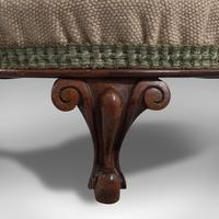 Small Antique Footstool, English, Walnut, Needlepoint Tapestry, Early Victorian (9 of 12)