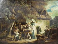 Pair of Early 19th Century Country Genre Scenes Oil on Canvas (19 of 21)