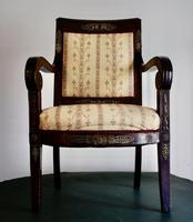 Mahogany Napoleonic and heavily mounted brass  upholstered armchair. (5 of 6)