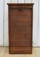 Oak Tambour Front Filing Bedside Cabinet (7 of 7)