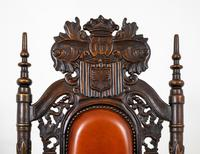 Superb Pair of Oak Throne Chairs (14 of 14)