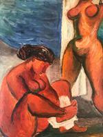 Original oil on canavas 'The sun worshippers' by Antonin (Tony) Bartl 1912-1998 (3 of 5)
