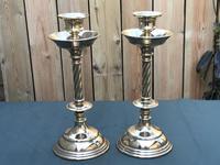 Pair of Arts & Crafts Brass Barley Twist Column Candlesticks (2 of 5)