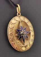 Victorian Diamond Star Pendant, Blue Enamel, 9ct Gold (3 of 11)