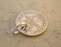 Antique Pocket Watch Chain Fob 1920 Silver Lucky Three Pence Old 3d Coin Fob (3 of 8)