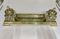 Victorian Brass Inkwell Desk Companion c.1875 (6 of 9)