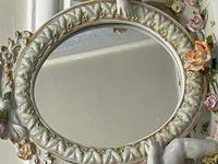 Pair of Small Dresden Victorian Style Porcelain Cherub Table Mirrors (4 of 60)