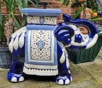 Mid 20th Century French Ceramic Hand-painted Elephant-form Garden Seat (5 of 9)