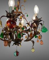 Murano Glass a Fruit Venetian 6 Arm Toleware Ceiling Light Chandelier (5 of 9)
