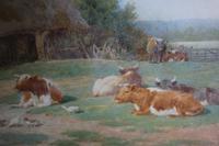 Antique Original Watercolour - Cows Resting - Charles James Adams c.1900 (4 of 9)