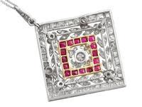 3.48ct Diamond & 0.53ct Ruby, Platinum Pendant / Brooch - Antique c.1900 (4 of 15)