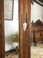Antique French Carved Armoire Housekeepers 2 Door Mirrored Wardrobe (3 of 8)