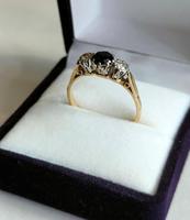 Art Deco 18ct Gold Platinum Sapphire Diamond Trilogy Ring (6 of 11)