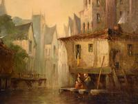 """Oil Painting by Pierre Le Boeuff """"Market Day, Ghent"""" (4 of 4)"""