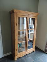 Gorgeous Large Antique Solid Pine Glazed Display Cabinet Bookcase Shelves