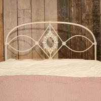 Mid Victorian Cast Iron Antique Bed in Cream (6 of 7)