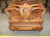 Carved Canterbury Magazine Rack with Drawer (2 of 2)