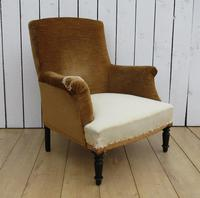 Antique High Back Napoleon III Armchair for re-upholstery