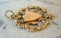Antique Pocket Watch Chain Fob 1890s Victorian 12ct Rose Gold Filled Shield Fob (5 of 6)