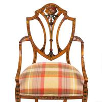 Late Victorian Sheraton Revival Painted Satinwood Armchair (4 of 5)
