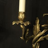 French Pair of Triple Arm Brass Wall Lights (4 of 10)