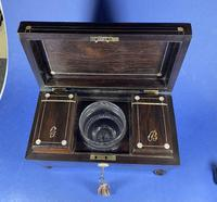 William IV Rosewood Tea Caddy with Mother of Pearl & Pewter Inlay (4 of 8)