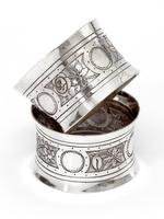 Victorian John Round Boxed Pair of Silver Convex Shaped Napkin Rings (3 of 4)