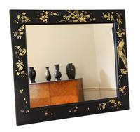 Pair of Black Lacquer Japanese Decorated Wall Mirrors c.1910 (8 of 14)