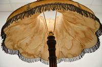 Antique Carved Mahogany Floor Lamp with Needlepoint Shade (10 of 10)