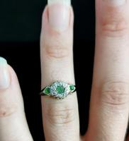 Antique Edwardian Peridot & Diamond Cluster Ring, 18ct Gold (13 of 13)